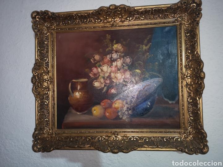 Arte: Precioso y antiguo bodegón en oleo sobre lienzo con firma a identificar. bonito marco - Foto 2 - 159447293