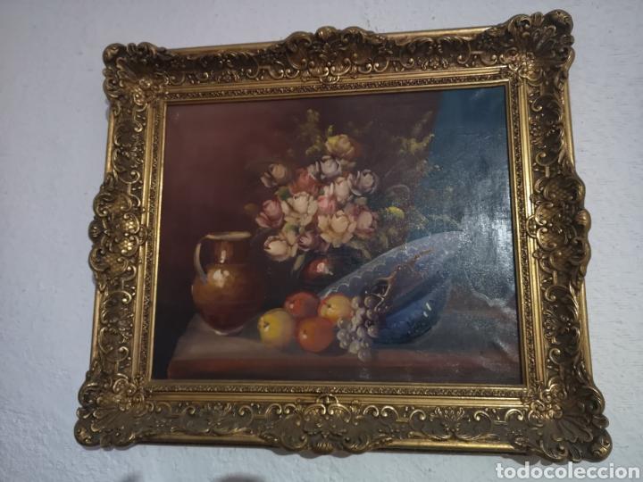 Arte: Precioso y antiguo bodegón en oleo sobre lienzo con firma a identificar. bonito marco - Foto 3 - 159447293