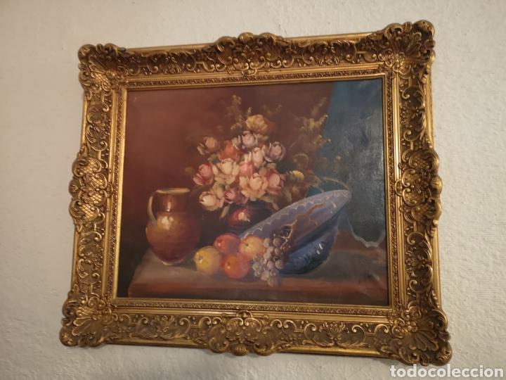 Arte: Precioso y antiguo bodegón en oleo sobre lienzo con firma a identificar. bonito marco - Foto 5 - 159447293