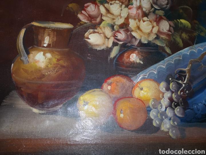 Arte: Precioso y antiguo bodegón en oleo sobre lienzo con firma a identificar. bonito marco - Foto 7 - 159447293
