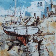 Arte: BERNARD DUFOUR (FRANCIA, 1922-2016) - PUEBLO DE PESCADORES. Lote 159482702