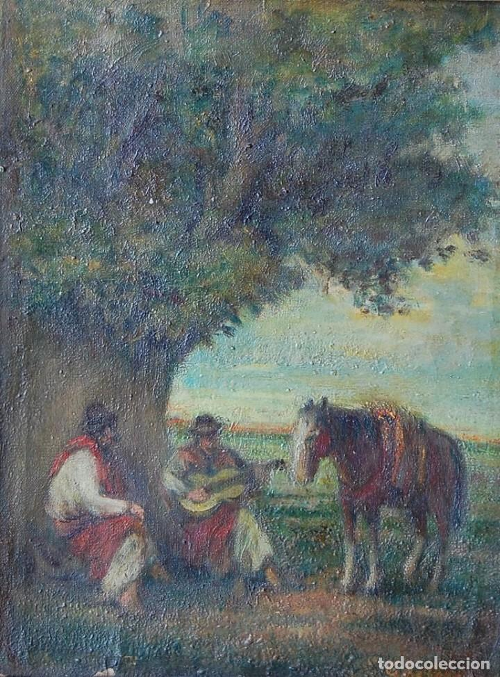 PINTURA ORIGINAL SIGLO XIX : GAUCHOS (ARGENTINA, URUGUAY, PARAGUAY, BRASIL) (Arte - Pintura - Pintura al Óleo Moderna siglo XIX)