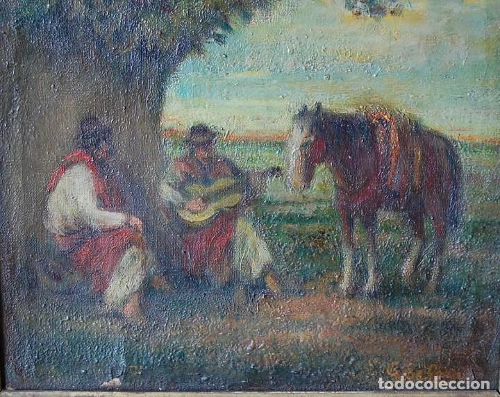 Arte: PINTURA ORIGINAL SIGLO XIX : GAUCHOS (ARGENTINA, URUGUAY, PARAGUAY, BRASIL) - Foto 3 - 159497150