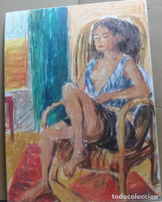 CHICA DESCANSANDO ORIGINAL (Arte - Pintura - Pintura al Óleo Contemporánea )