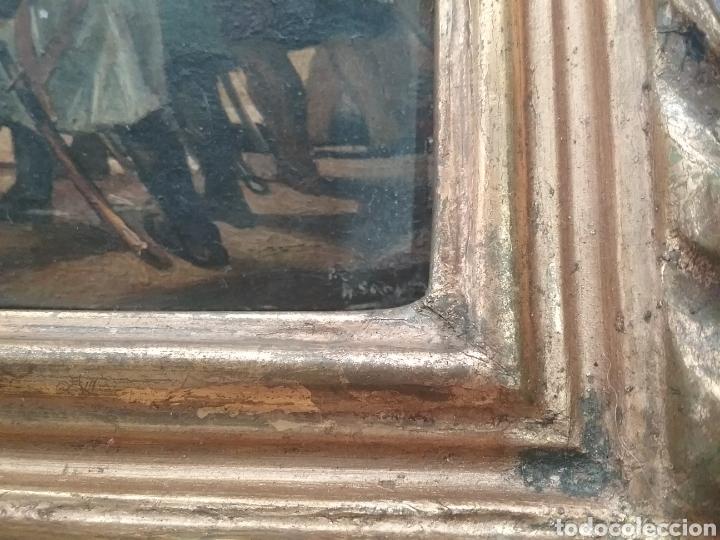 Arte: Cuadro miniatura al óleo sobre papel adherido a tabla , copia de Goya y firma ilegible. - Foto 2 - 159530994
