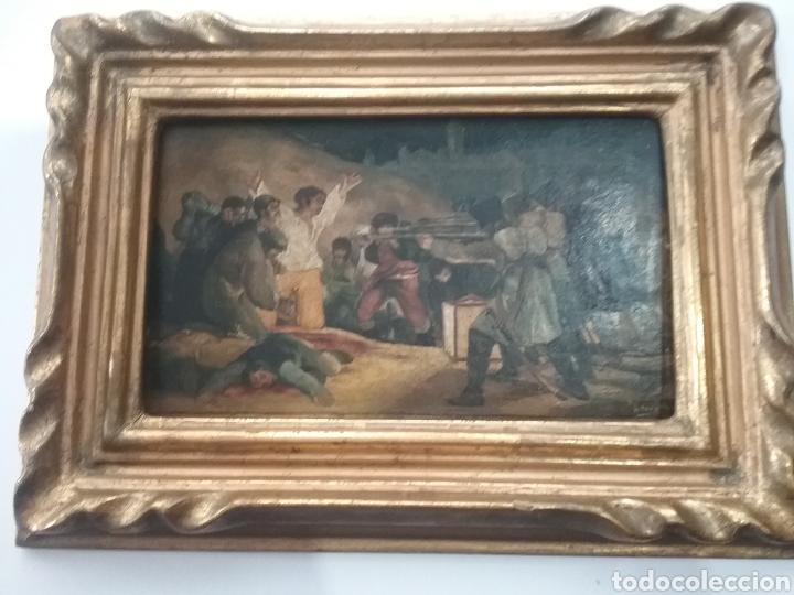 CUADRO MINIATURA AL ÓLEO SOBRE PAPEL ADHERIDO A TABLA , COPIA DE GOYA Y FIRMA ILEGIBLE. (Arte - Pintura - Pintura al Óleo Antigua sin fecha definida)