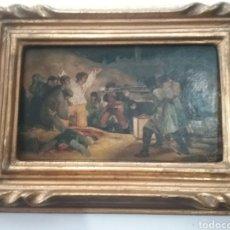 Arte: CUADRO MINIATURA AL ÓLEO SOBRE PAPEL ADHERIDO A TABLA , COPIA DE GOYA Y FIRMA ILEGIBLE.. Lote 159530994