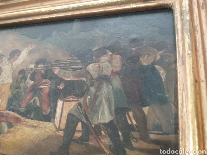 Arte: Cuadro miniatura al óleo sobre papel adherido a tabla , copia de Goya y firma ilegible. - Foto 3 - 159530994