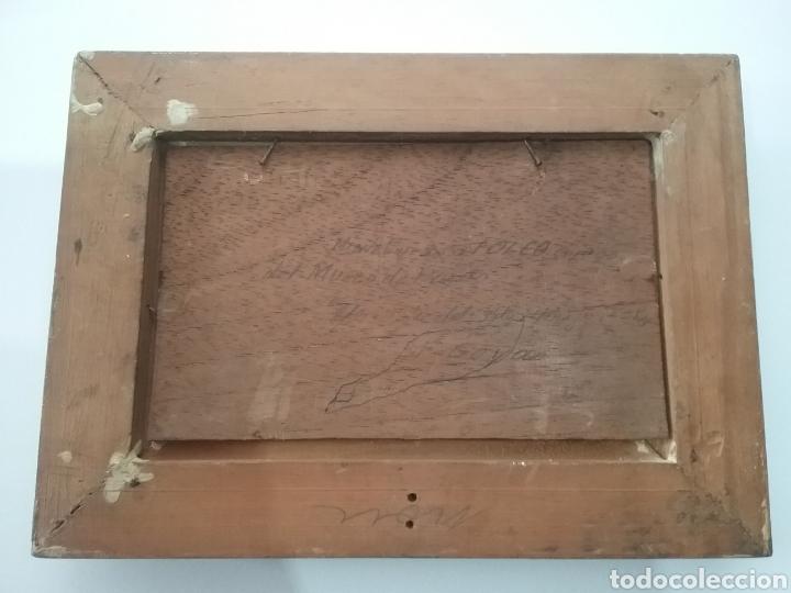 Arte: Cuadro miniatura al óleo sobre papel adherido a tabla , copia de Goya y firma ilegible. - Foto 4 - 159530994