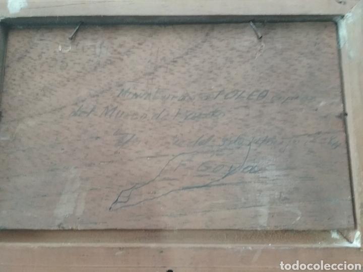 Arte: Cuadro miniatura al óleo sobre papel adherido a tabla , copia de Goya y firma ilegible. - Foto 5 - 159530994