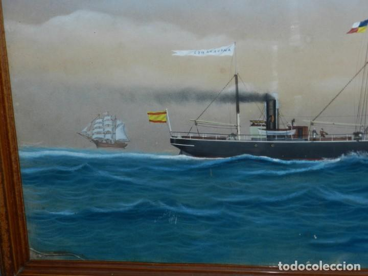 Arte: (M) CUADRO OLEO BARCO NAVIERA AMPURDANES , SIGLO XIX , SIN FIRMAR , 85X59 CM - Foto 3 - 159554078