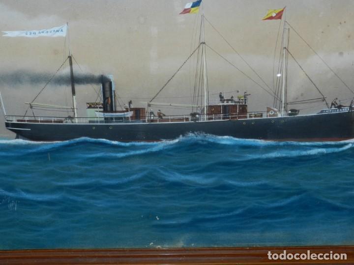 Arte: (M) CUADRO OLEO BARCO NAVIERA AMPURDANES , SIGLO XIX , SIN FIRMAR , 85X59 CM - Foto 4 - 159554078
