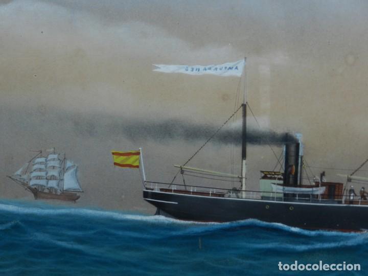 Arte: (M) CUADRO OLEO BARCO NAVIERA AMPURDANES , SIGLO XIX , SIN FIRMAR , 85X59 CM - Foto 10 - 159554078