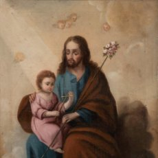 Arte: ÓLEO S/LIENZO -SAN JOSÉ CON EL NIÑO-. ESC BARROCA SEVILLANA S. XVIII. DIM.- 62,5X49 CMS.. Lote 159574278