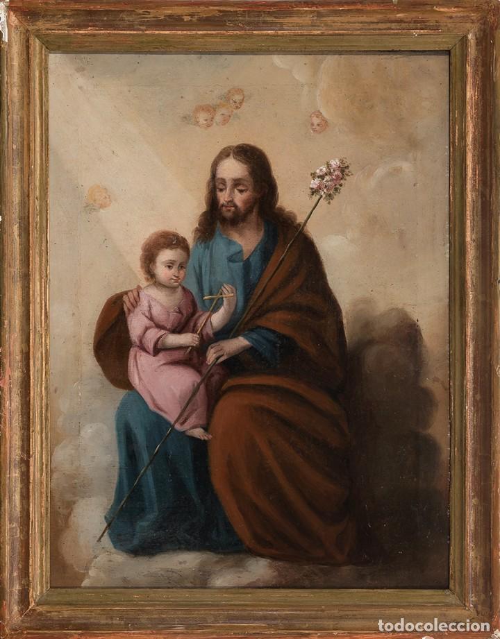 Arte: ÓLEO S/LIENZO -SAN JOSÉ CON EL NIÑO-. ESC BARROCA SEVILLANA S. XVIII. DIM.- 62,5X49 CMS. - Foto 2 - 159574278