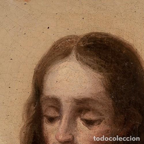Arte: ÓLEO S/LIENZO -SAN JOSÉ CON EL NIÑO-. ESC BARROCA SEVILLANA S. XVIII. DIM.- 62,5X49 CMS. - Foto 4 - 159574278
