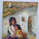 Arte: MADRE E HIJA EN LA CUEVA. PINTURA AL ÓLEO DE SOLEDAD GÓMEZ. 55 X 38 CM. Lote 159576838