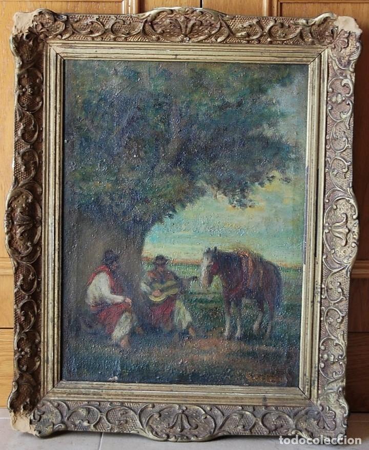 Arte: PINTURA ORIGINAL SIGLO XIX : GAUCHOS (ARGENTINA, URUGUAY, PARAGUAY, BRASIL) - Foto 2 - 159497150