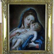 Arte: VIRGEN CON NIÑO ÓLEO SOBRE LIENZO CÍRCULO DE MIGUEL JACINTO MELÉNDEZ ESCUELA MADRILEÑA SIGLO XVIII. Lote 159631910
