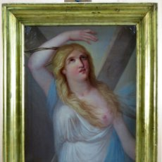 Arte: SANTA LIBRADA ÓLEO SOBRE LIENZO CÍRCULO DE JOSEPH BERNARD FLAUGIER FINALES SIGLO XVIII. Lote 159636850