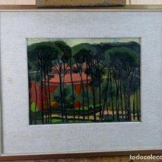 Arte: PAISAJE BOSQUE ÓLEO SOBRE TABLA FRANCISCO ECHAUZ BUISAN FIRMADO Y FECHADO EN ROMA EN 1957. Lote 159645562