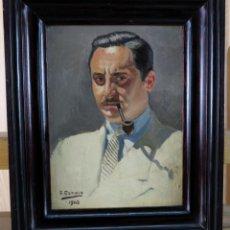 Arte: RETRATO CON PIPA ÓLEO SOBRE CARTÓN FRANCISCO ECHAUZ BUISAN FIRMADO Y FECHADO EN 1945. Lote 159647234