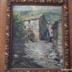 Arte: OLEO SOBRE LIENZO - CALLE DE SETCASES. GIRONA - FIRMADO AÑO 75. Lote 159776514