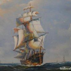 Arte: OLEO SOBRE LIENZO - LA CARREA DE LOS CLIPPERS - FIRMA ILEGIBLE. GRAN FORMATO. Lote 159784486