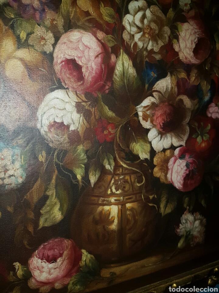 Arte: BODEGON DE FLORES DE GRAN TAMAÑO CON MARCO DORADO PINTADO AL OLEO SOBRE LIENZO - Foto 2 - 159809374