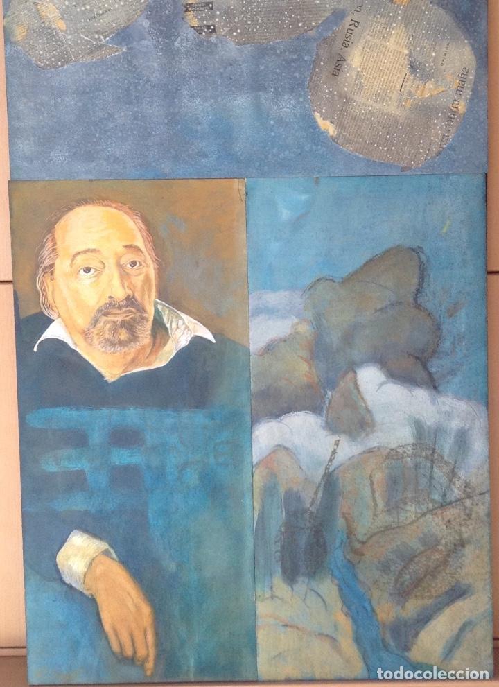 ÓLEO Y COLLAGE SOBRE TABLA FIRMADO H.M. FAGET TITULADO ILYA KABAKOV EN LA PARTE TRASERA (Arte - Pintura - Pintura al Óleo Contemporánea )