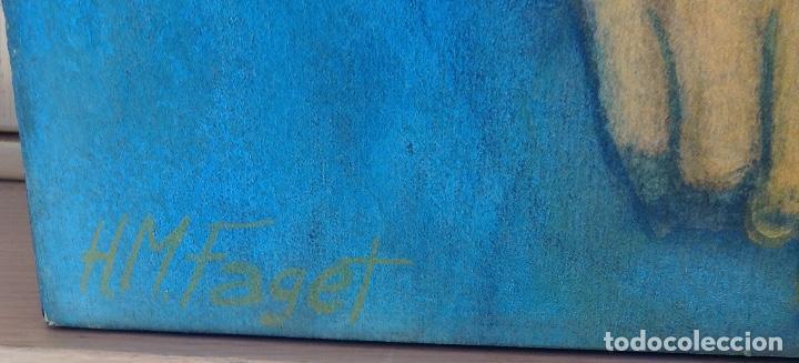 Arte: ÓLEO Y COLLAGE SOBRE TABLA FIRMADO H.M. FAGET TITULADO ILYA KABAKOV EN LA PARTE TRASERA - Foto 2 - 159882690