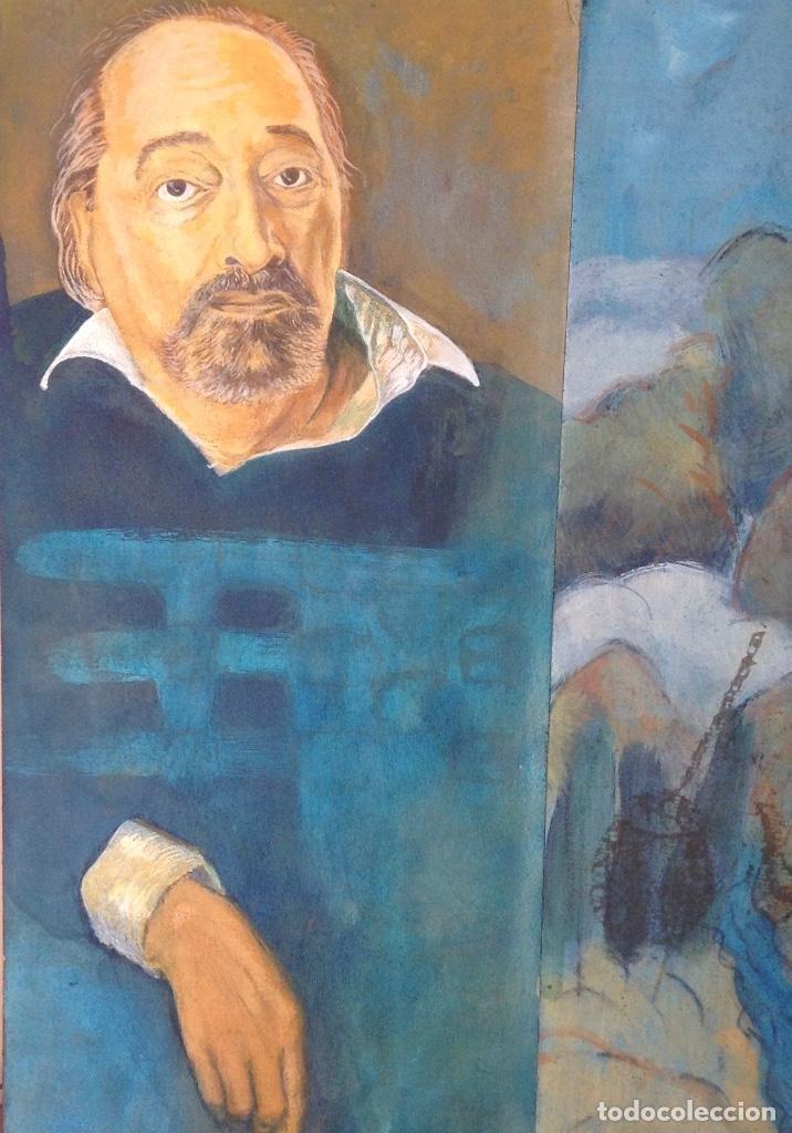 Arte: ÓLEO Y COLLAGE SOBRE TABLA FIRMADO H.M. FAGET TITULADO ILYA KABAKOV EN LA PARTE TRASERA - Foto 3 - 159882690