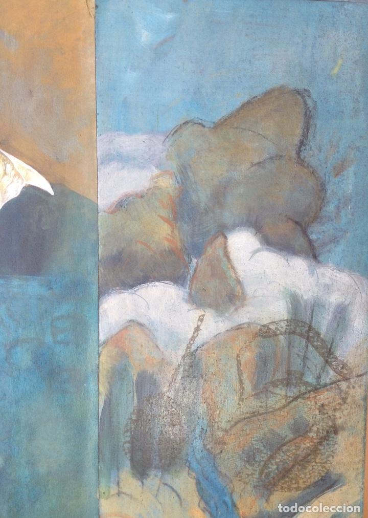 Arte: ÓLEO Y COLLAGE SOBRE TABLA FIRMADO H.M. FAGET TITULADO ILYA KABAKOV EN LA PARTE TRASERA - Foto 4 - 159882690