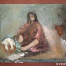 Arte: OLEO SOBRE LIENZO. MUJER. COLORES DIFUMINADOS EN TONOS PASTEL. AUTOR ANÓNIMO. 50 X 40 CM.. Lote 159992202