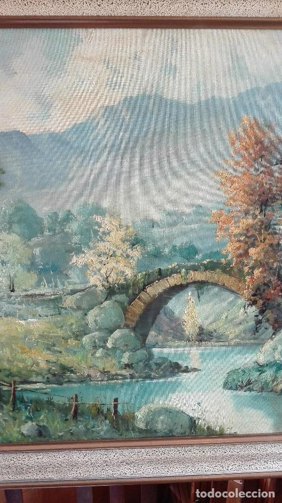 Arte: Paisaje puente con río casas y montaña firmado D.Lola - Foto 4 - 160106438