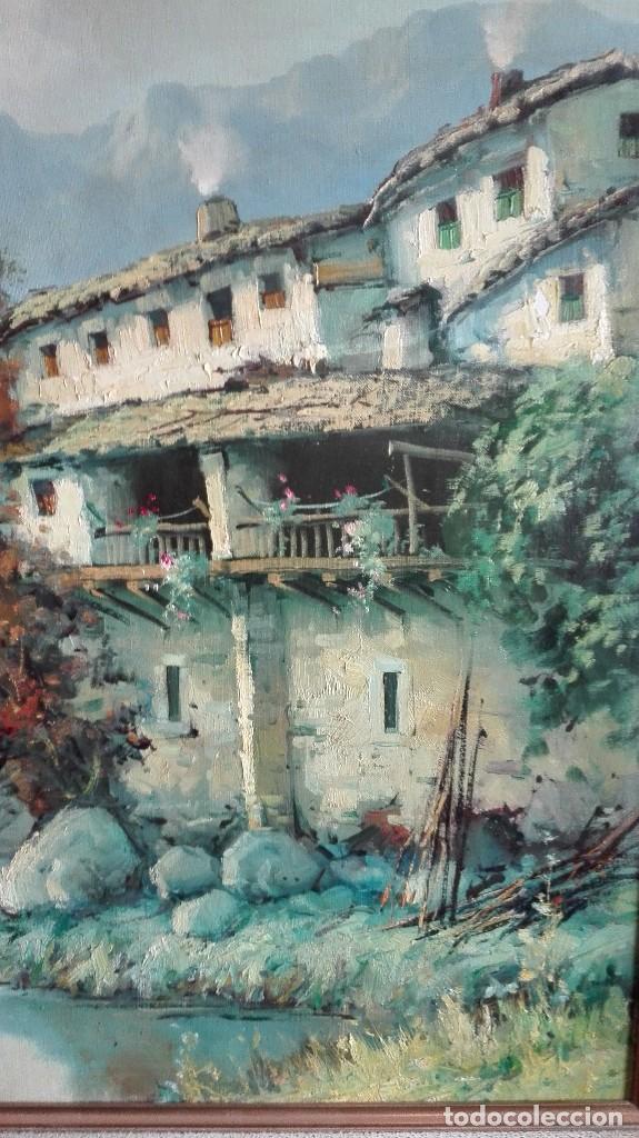 Arte: Paisaje puente con río casas y montaña firmado D.Lola - Foto 5 - 160106438