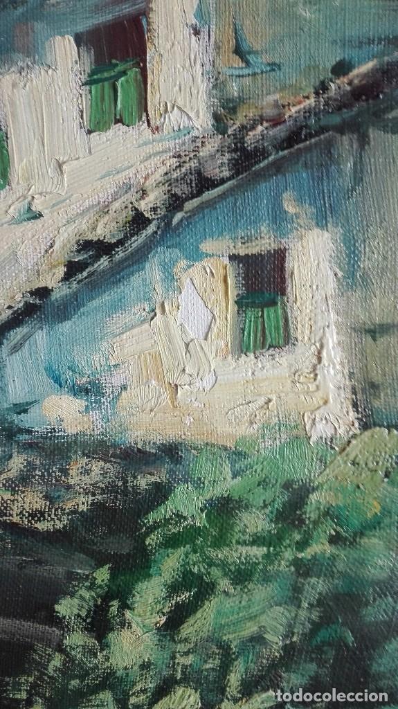 Arte: Paisaje puente con río casas y montaña firmado D.Lola - Foto 9 - 160106438