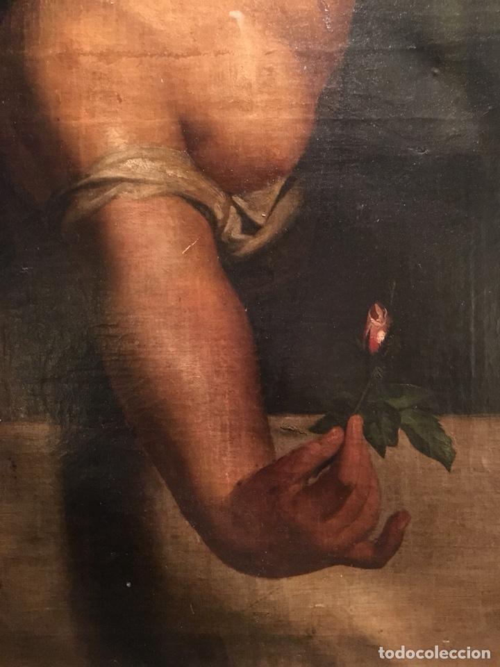 Arte: Óleo sobre lienzo. Mujer en la ventana. Escuela europea XIX - Foto 2 - 151326557