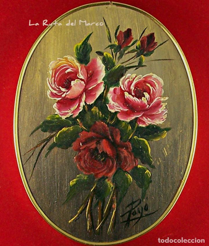 Arte: Flores - Cuadro ovalado de óleo sobre madera con terciopelo rojo - Foto 2 - 160269286