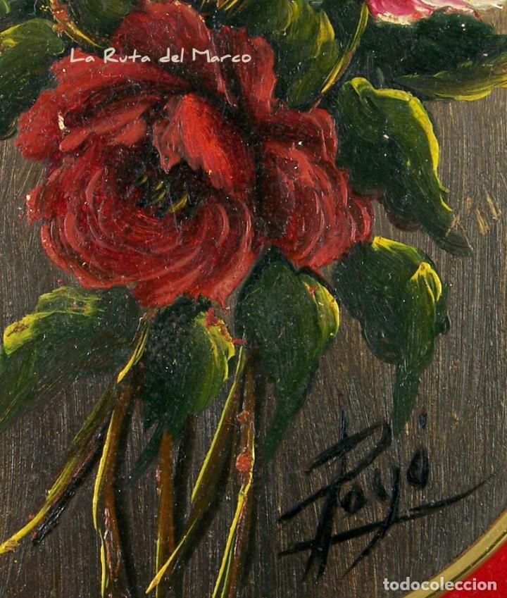 Arte: Flores - Cuadro ovalado de óleo sobre madera con terciopelo rojo - Foto 3 - 160269286