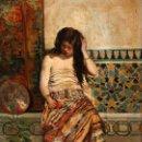 Arte: ESCUELA ORIENTALISTA DE AUTOR ANONIMO. OLEO SOBRE TABLA DE APROXIMADAMENTE 1880. JOVEN DESCANSANDO. Lote 160364650