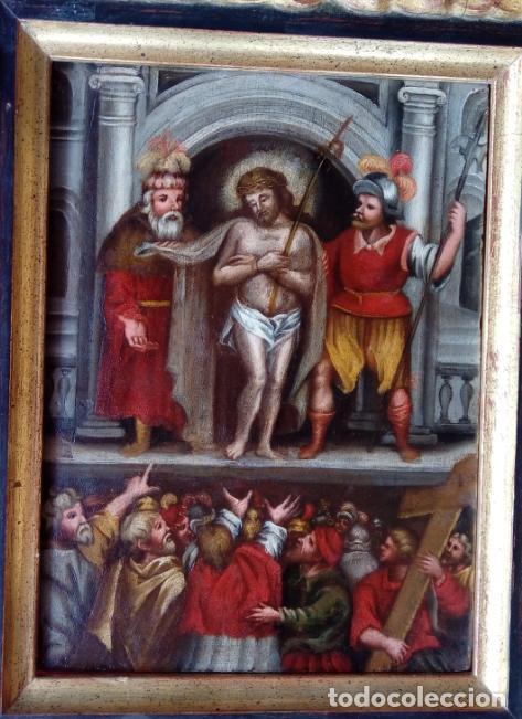 ÓLEO SOBRE TABLA -JESÚS ANTE PILATOS-, ESC. ITALIANA FINALES S. XVII. DIM.- 36X29.5 CMS (Arte - Pintura - Pintura al Óleo Antigua siglo XVII)
