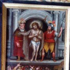 Arte: ÓLEO SOBRE TABLA -JESÚS ANTE PILATOS-, ESC. ITALIANA FINALES S. XVII. DIM.- 36X29.5 CMS. Lote 160439810