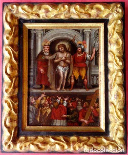 Arte: ÓLEO SOBRE TABLA -JESÚS ANTE PILATOS-, ESC. ITALIANA FINALES S. XVII. DIM.- 36X29.5 CMS - Foto 2 - 160439810