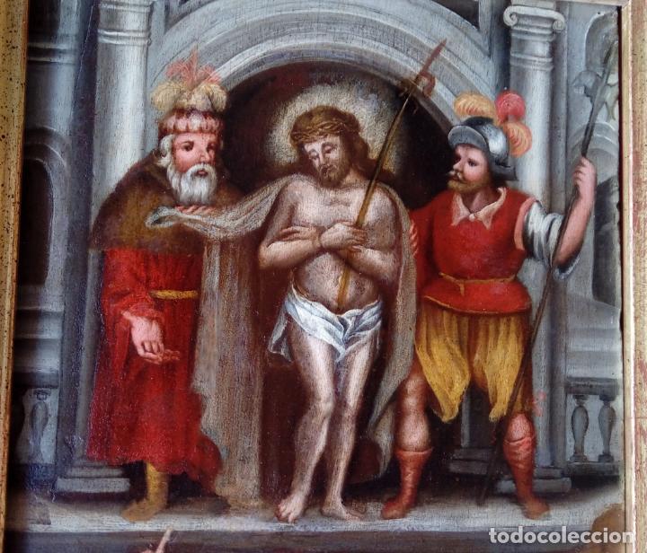 Arte: ÓLEO SOBRE TABLA -JESÚS ANTE PILATOS-, ESC. ITALIANA FINALES S. XVII. DIM.- 36X29.5 CMS - Foto 3 - 160439810