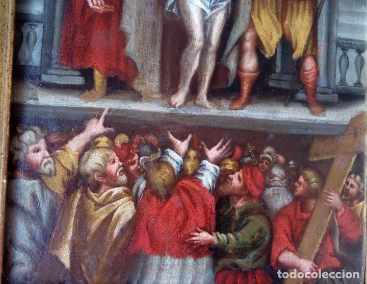 Arte: ÓLEO SOBRE TABLA -JESÚS ANTE PILATOS-, ESC. ITALIANA FINALES S. XVII. DIM.- 36X29.5 CMS - Foto 4 - 160439810