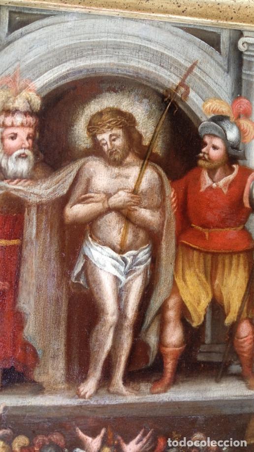 Arte: ÓLEO SOBRE TABLA -JESÚS ANTE PILATOS-, ESC. ITALIANA FINALES S. XVII. DIM.- 36X29.5 CMS - Foto 5 - 160439810