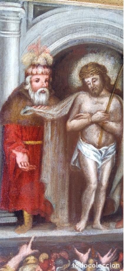 Arte: ÓLEO SOBRE TABLA -JESÚS ANTE PILATOS-, ESC. ITALIANA FINALES S. XVII. DIM.- 36X29.5 CMS - Foto 6 - 160439810