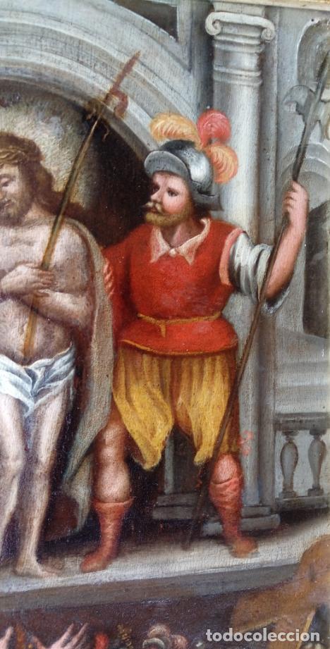 Arte: ÓLEO SOBRE TABLA -JESÚS ANTE PILATOS-, ESC. ITALIANA FINALES S. XVII. DIM.- 36X29.5 CMS - Foto 7 - 160439810