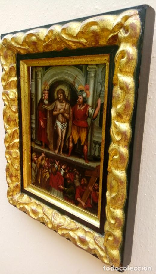 Arte: ÓLEO SOBRE TABLA -JESÚS ANTE PILATOS-, ESC. ITALIANA FINALES S. XVII. DIM.- 36X29.5 CMS - Foto 8 - 160439810